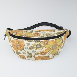 Retro Vintage 60s 70s Flower Print, Phychedelic Floral Pattern in Orange, Green and Mustard Yellow Fanny Pack
