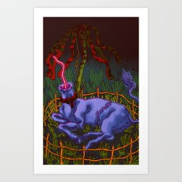 Body Farm Unicorn in Captivity Art Print