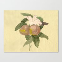 peach Canvas Prints featuring Peach by Yi Gao