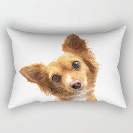 Curious Dog Portrait Rectangular Pillow