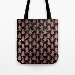 Black faux rose gold snow pine tree Christmas Holiday Tote Bag