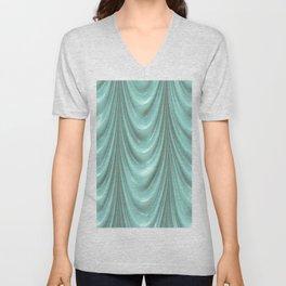 Decadent drapery,turquoise Unisex V-Neck