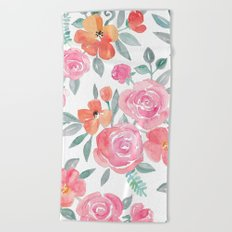 Amelia Floral in Pink and Peach Watercolor Beach Towel