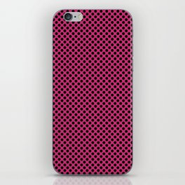 Pink Yarrow and Black Polka Dots iPhone Skin