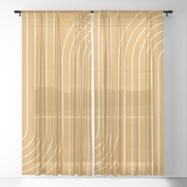 Minimal Line Curvature - Golden Yellow Sheer Curtain