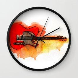 Watercolor guitar Wall Clock