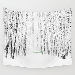 Green bench in white winter forest Wall Tapestry