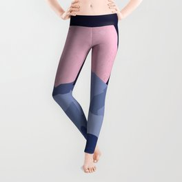 Pink moon abstract night landscape Leggings