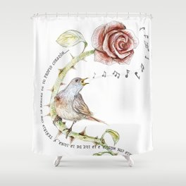 The nightgale and the rose Shower Curtain