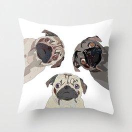 Triple Pugs Throw Pillow