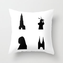 Delft dark silhouette Throw Pillow