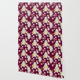pastel floral pattern on burgundy background Wallpaper
