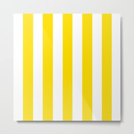 Philippine golden yellow - solid color - white vertical lines pattern Metal Print