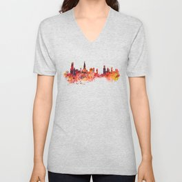 Chicago Watercolor Skyline Unisex V-Neck