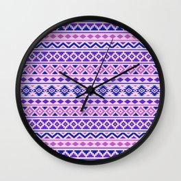 Aztec Essence Pattern II Pinks Blue Purple Wall Clock