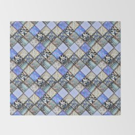 Faux Patchwork Quilting - Blues Throw Blanket