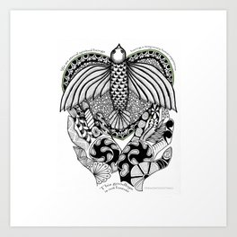 This goodbye is not forever Sympathy  - Zentangle Illustration Art Print