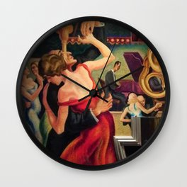 Classical Masterpiece Couple Dancing to Favorite Song by Thomas Hart Benton Wall Clock