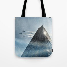 Blue Angels Over Hancock Tote Bag