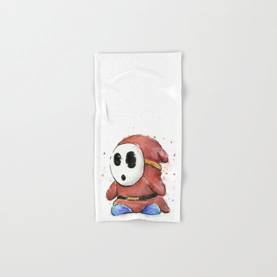 Shy Guy Watercolor Mario Art Hand & Bath Towel