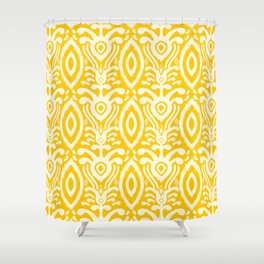 Yellow Ikat Pattern Shower Curtain