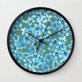 Forget me not flower wall in watercolor  Wall Clock