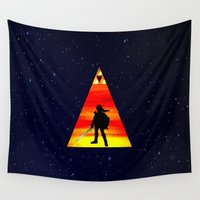 the legend of zelda Wall Tapestries featuring LEGEND OF ZELDA TRIANGLE by kattie flynn