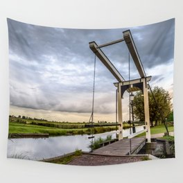 Canal and Bridge in Netherlands at Sunset Wall Tapestry