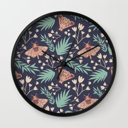 Moth and Flower Vintage Inspired Pattern Wall Clock