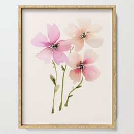 Light Peach, pink watercolor flowers Serving Tray