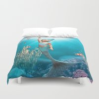 the little mermaid Duvet Covers featuring Little Mermaid by Simone Gatterwe