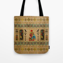 Hathor Egyptian Ornament on papyrus Tote Bag