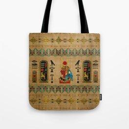Hathor Egyptian Ornament on papyrus Tote Bag