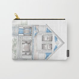 Blue Folk Victorian House Carry-All Pouch