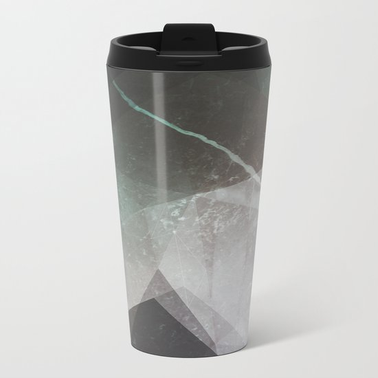Marble Teal Layers Metal Travel Mug