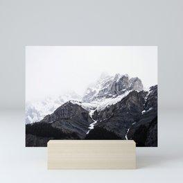 Moody snow capped Mountain Peaks - Nature Photography Mini Art Print