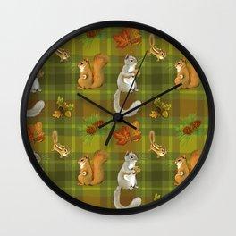 Squirreling (Earthtones) Wall Clock