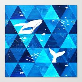 Blue Whale Jumping Canvas Print