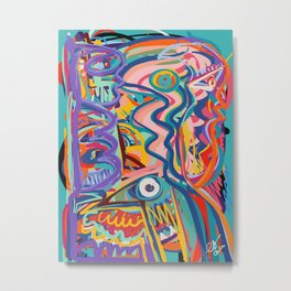 The Purple Kid with his Mother and the Bird Graffiti Art Expressionism Metal Print