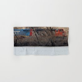 Train by River in late fall Hand & Bath Towel