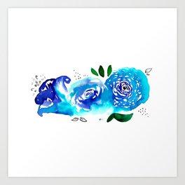 Three Blue Christchurch Roses Art Print