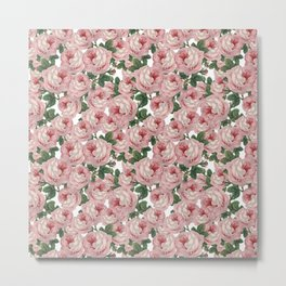 Pink Vintage Roses Collage Metal Print