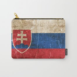 Vintage Aged and Scratched Slovakian Flag Carry-All Pouch