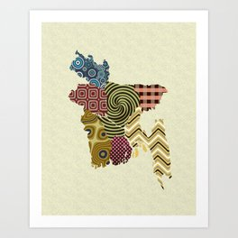 Bangladesh Map Art Print