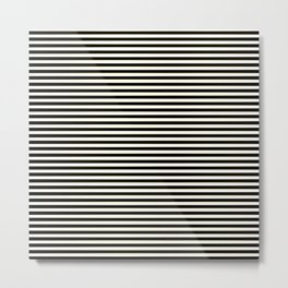 Thin alternating gold black and white art deco stripes Metal Print