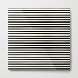 Thin alternating gold black and white art deco stripes Metal Print