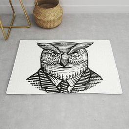 Hipster Owl Suit Woodcut Rug