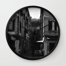Calle Marcello b&w Wall Clock