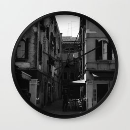Calle Marcello b&w Wall Clock