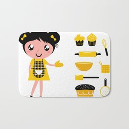 New Gift edition : Cooking vintage girl / yellow black Bath Mat